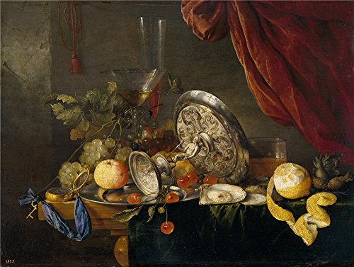polyster Canvas ,the Vivid Art Decorative Prints on Canvas of oil painting 'Heem Jan Davidsz. de Mesa ', 8 x 11 inch / 20 x 27 cm is best for Wall art decoration and Home decoration and Gifts