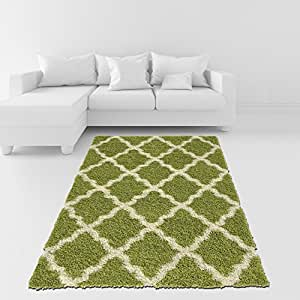 Soft shag area rug 3x5 moroccan trellis green for Living room rugs amazon