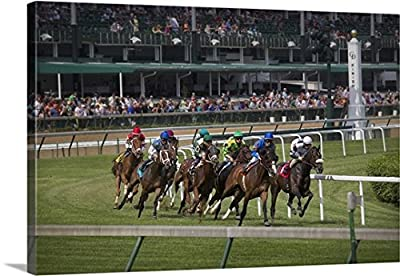 Jaynes Gallery Gallery-Wrapped Canvas entitled Kentucky, Louisville. Horses racing on turf at Churchill Downs