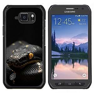 Caucho caso de Shell duro de la cubierta de accesorios de protección BY RAYDREAMMM - Samsung Galaxy S6Active Active G890A - Veneno de Serpiente Negro Mamba Tropical