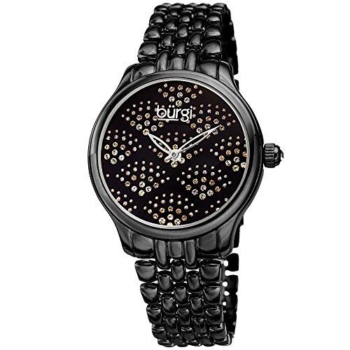 Burgi Stainless Steel Women's Watch – Sparkling Black Dial with Swarovski Crystals in Beautiful Fan Pattern – Black Chain Link Bracelet Band -BUR205BK ()
