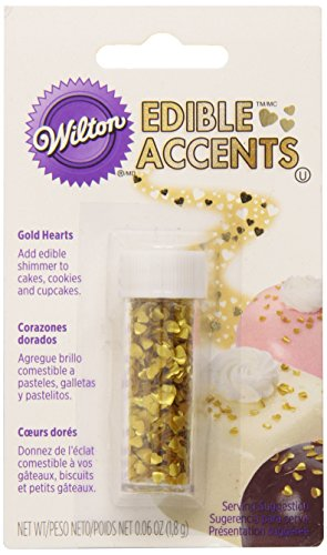 Wilton Gold Edible Hearts Glitter, Net Wt. .06 oz.
