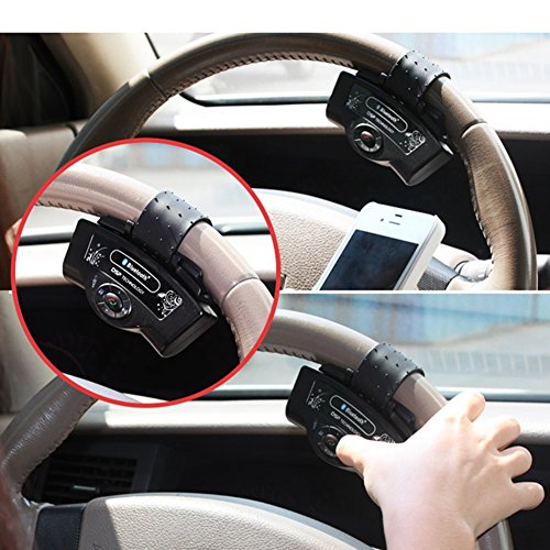 Ocamo MP3 Player for iPhone Samsung And Smart Phones Black Steering Wheel Bluetooth Handsfree Speakerphone Car Kits by Ocamo