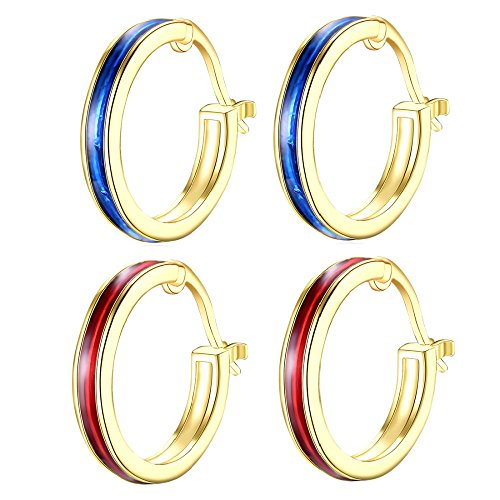 New! 14K Gold Plated Nice Enamel Round Hoop Christmas Earrings For Womens Girls Blue Red (2Pcs) ()