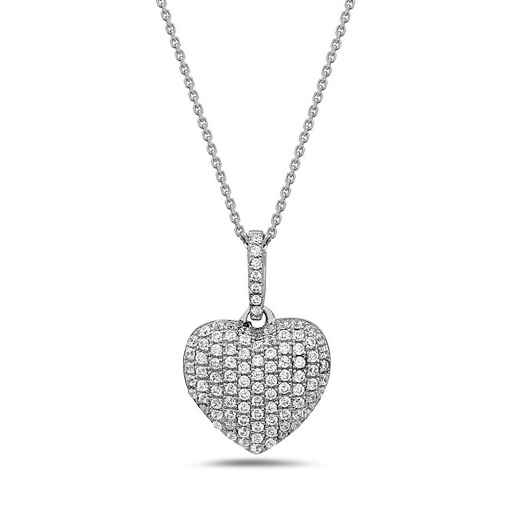 16ea2926e8 Amazon.com: Crush & Fancy 925 Sterling Silver Heart Shape Pendant Necklaces  and German Crystals 16-18 inch Chain Included (CARA): Jewelry