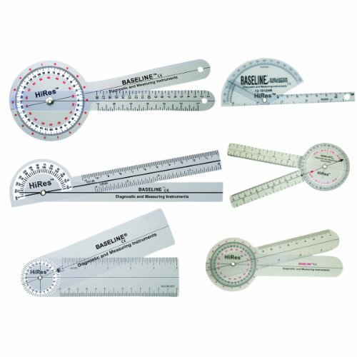 Baseline 12-1028HR Plastic Goniometer, Hires, 6-piece Set