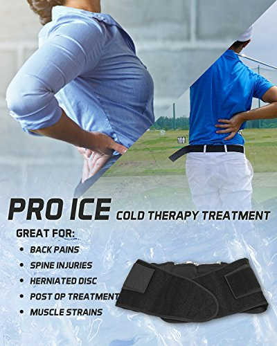 Pro Ice MEDIUM Back Ice Wrap Lumbar Support for Lower Back Pain Relief, Pinched Nerves, Sciatica - Waist Size 26''-33'', Model PI 700 Ice Packs Included by PRO ICE COLD THERAPY PRODUCTS (Image #1)