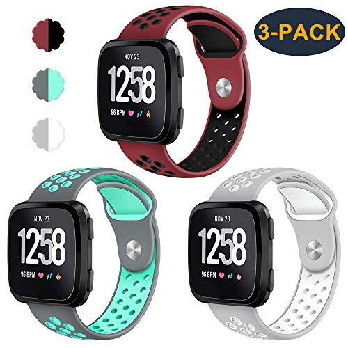 CAVN 3-Pack Compatible Fitbit Versa Bands for Men Women, Sweat Resistant Replacement Accessory Strap Bracelet Compatible Fitbit Versa Smartwtach (L/6.8
