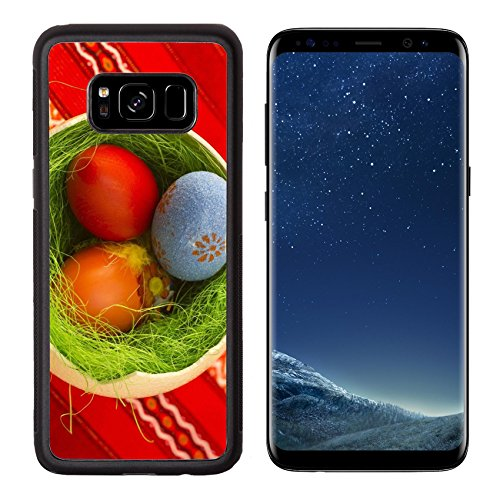 Liili Premium Samsung Galaxy S8 Aluminum Backplate Bumper Snap Case Colorful painted Easter eggs in one big ostrich with grass IMAGE ID 19118745 (Eggs Ostrich)
