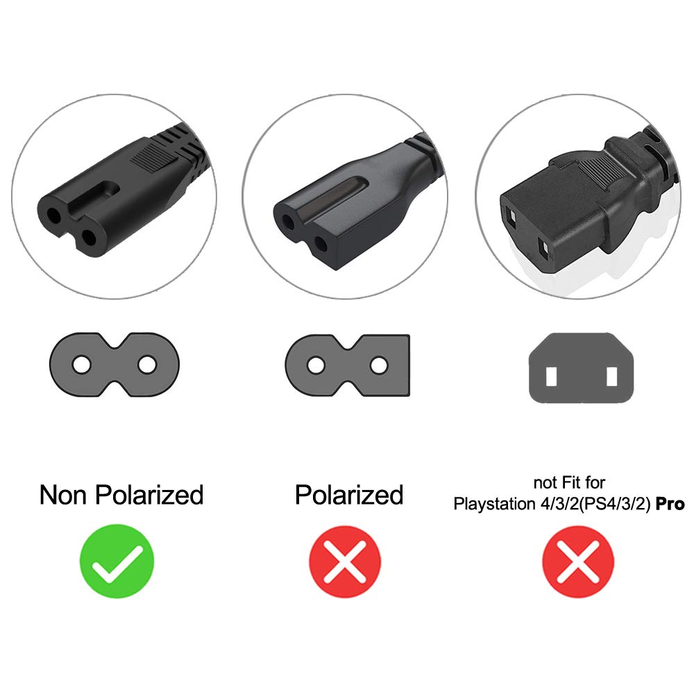 Printer Power Cord Cable Fit for HP Envy 5530 5660 7640 4500 4510 4511 4520 5055 5535 5540 7645 100 110 120 200 OfficeJet Pro 4650 6978 6968 6830 6600 4632 3830 8720 8600 4655 8610 8620 8630 2-Slot