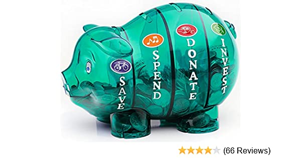 Money Savvy Pig Plastic Piggy Bank~Blue~Educational~Save Spend Donate Invest