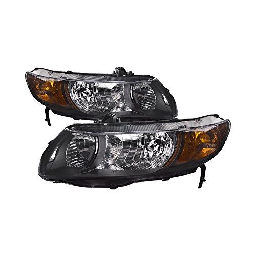 HEADLIGHTSDEPOT Compatible with Honda Civic 2-Door Coupe New Replacement Headlights - 2007 Honda Door Civic 2