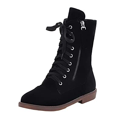 9ef2127adb8e0 Amazon.com | Agodor Womens Flat Lace Up Ankle Boots with Zip Classic ...