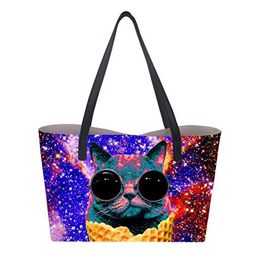 Showudesigns, Borsa a mano donna Large Cat Galaxy