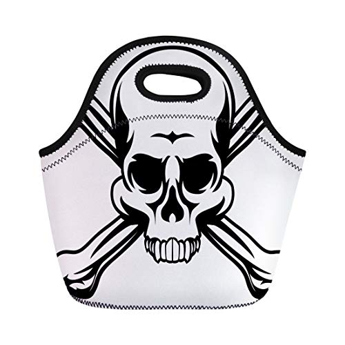 Semtomn Lunch Tote Bag Cross Skull and Crossbones Like Pirates Jolly Roger Sign Reusable Neoprene Insulated Thermal Outdoor Picnic Lunchbox for Men Women ()