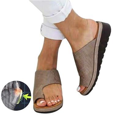 Mujeres PU zapatos ortopédicos juanete Corrector cómoda plataforma cuña casuales de las señoras del dedo gordo