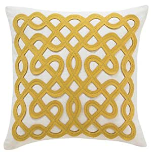 DwellStudio Labyrinth Citrine Pillow, 18 by 18-Inch
