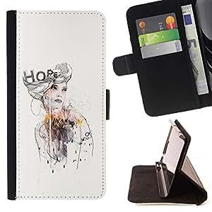 Momo Phone Case / Flip Funda de Cuero Case Cover - Diseño Vestido moda de la acuarela - Sony Xperia Z5 5.2 Inch (Not for Z5 Premium 5.5 Inch)