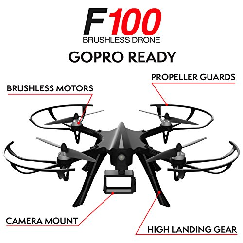 """51XKiHp354L - GoPro Compatible HD Camera Drone - """"Force1 F100"""" Brushless Motor Drone for Beginners and Pros Extends Drones Flight Time (Camera Not Included)"""
