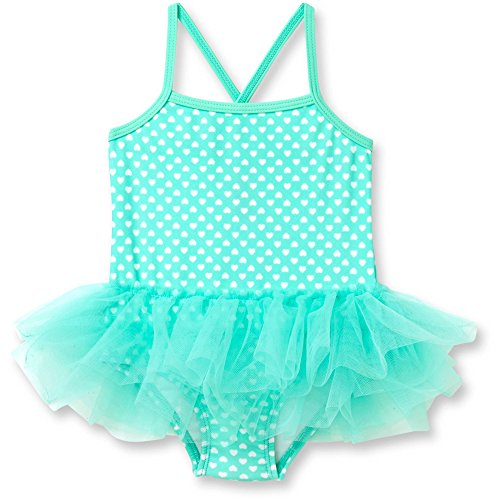 OP Turquoise Heart Baby Girls One Piece Swimsuit Bathing Suit Swimwear (0-3 Months)