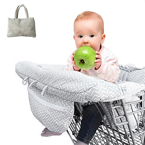 2-in-1 Shopping Cart Baby Seat Cover - Baby Cart Cover Cushion Ultra Plush 100 Cotton Upper Full Safety Harness Machine Washable for Baby Toddler Boy or Girl / 2-in-1 Shopping Cart Baby Seat Cover - Baby Cart Cover Cushion Ultra Pl...