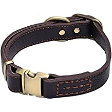 Sindello Genuine Leather Pet Dog Collar Durable and Comfortable Adjustable S M L Black Brown (S, Brown)