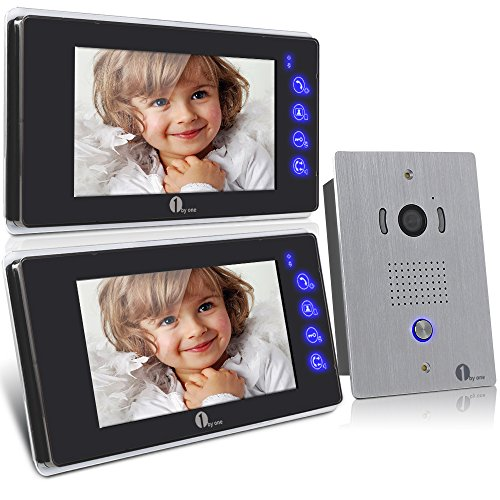 1byone 7 Inch Colorful LCD Touch Screen Video Doorbell Video Door Phone Home Security Camera Monitor Intercom System, Crystal Clear Picture, Perfect Sound Quality, Ultra-slim Design, Full-touch Screen, Indoor Monitor; 120 Degrees Wide