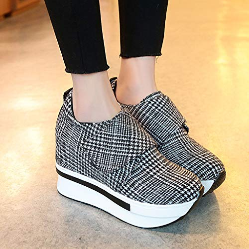 Des Hauts Vichy Talons Lady mounter Chaussures Pour Femme Plateforme Noir Épaisse Casual Augmentation De Toe Compensée Travail Femmes bfyY67gv