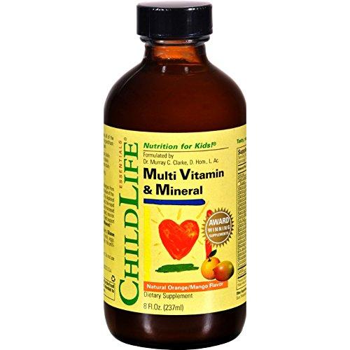 Childlife Multi Vitamin and Mineral Natural Orange Mango – Nutrition for Kids – Great Taste – 8 fl oz (Pack of 4) For Sale