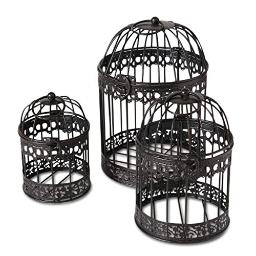 Farmers Market Latch Top Bird Cages, Set of 3, Rustic Black Finish, Iron, Decorative Holders for Florals, Candles and More, Metal, Handmade, Rustic Vintage Up-cycled Style, from 1 Ft Tall
