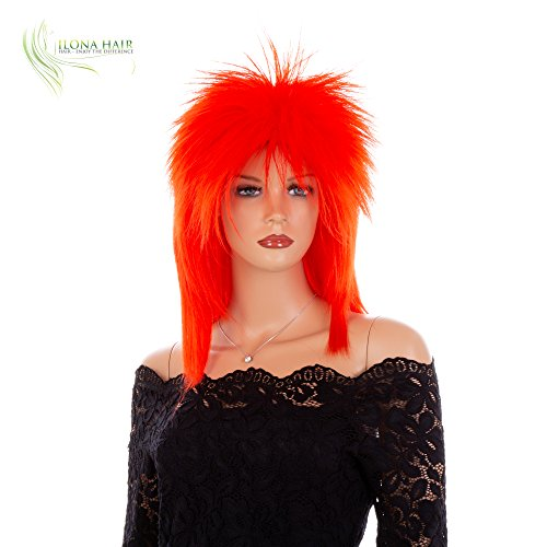 Punk Rocker Rockstar Glam Colorful Wig for Party or Halloween Off-White Black Green Pink Purple Red (DF1)