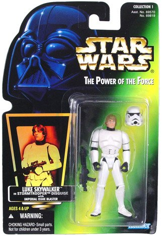 Star Wars Luke in Stormtrooper Disguise Green Card Action Figure (Wars Kenner Star Vintage)