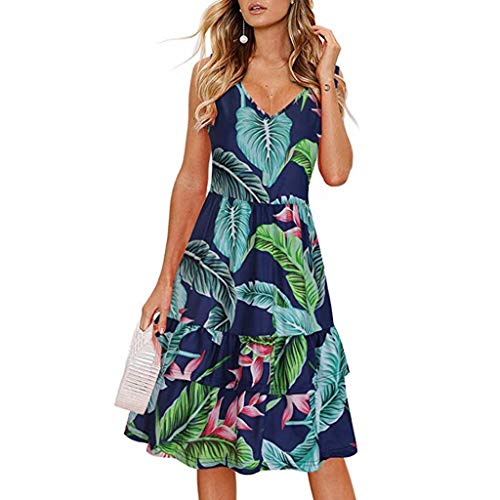 Witspace Women's Beach Summer V-Neck Floral Printed Sleeveless Ruffle Swing Dress