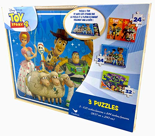 Disney Toy Story 4-3 Jigsaw Puzzles with Wooden Storage Box - Each 11 by 8 Inches]()