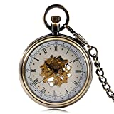 Transparent Skeleton Pocket Watch, Antique Hand Winding Mechanical Pocket Watch, Unique Guft for Men