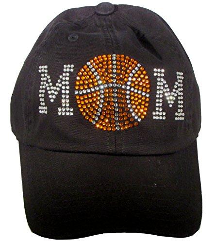 Bling Rhinestone Baseball Mom Black Cadet Cap Hat Sports Military (Basketball Mom) (Baseball Cap Black Basketball)