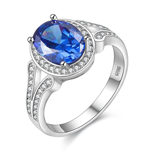 Uloveido Sterling Silver Oval Shape Blue Spinel Rings for Women Wedding Engagement Anniversary Jewelry FJ043