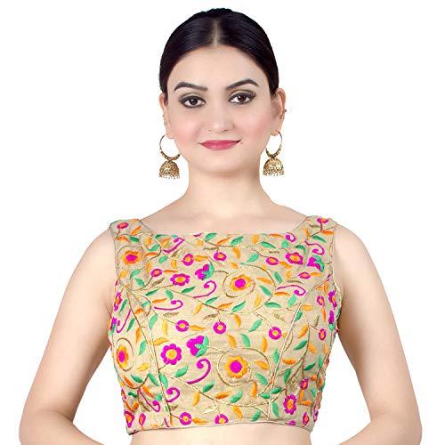 Chandrakala Women's Designer Bollywood Readymade MultiGold Indian Ethnic Saree Blouse Padded Brocade Choli-X-Small (B133MUL1)