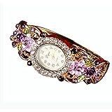 BCDshop Watch Women Luxury Fashion Casual Quartz Elegant Crystal Wristband Bangle Watch (Purple, Alloy)