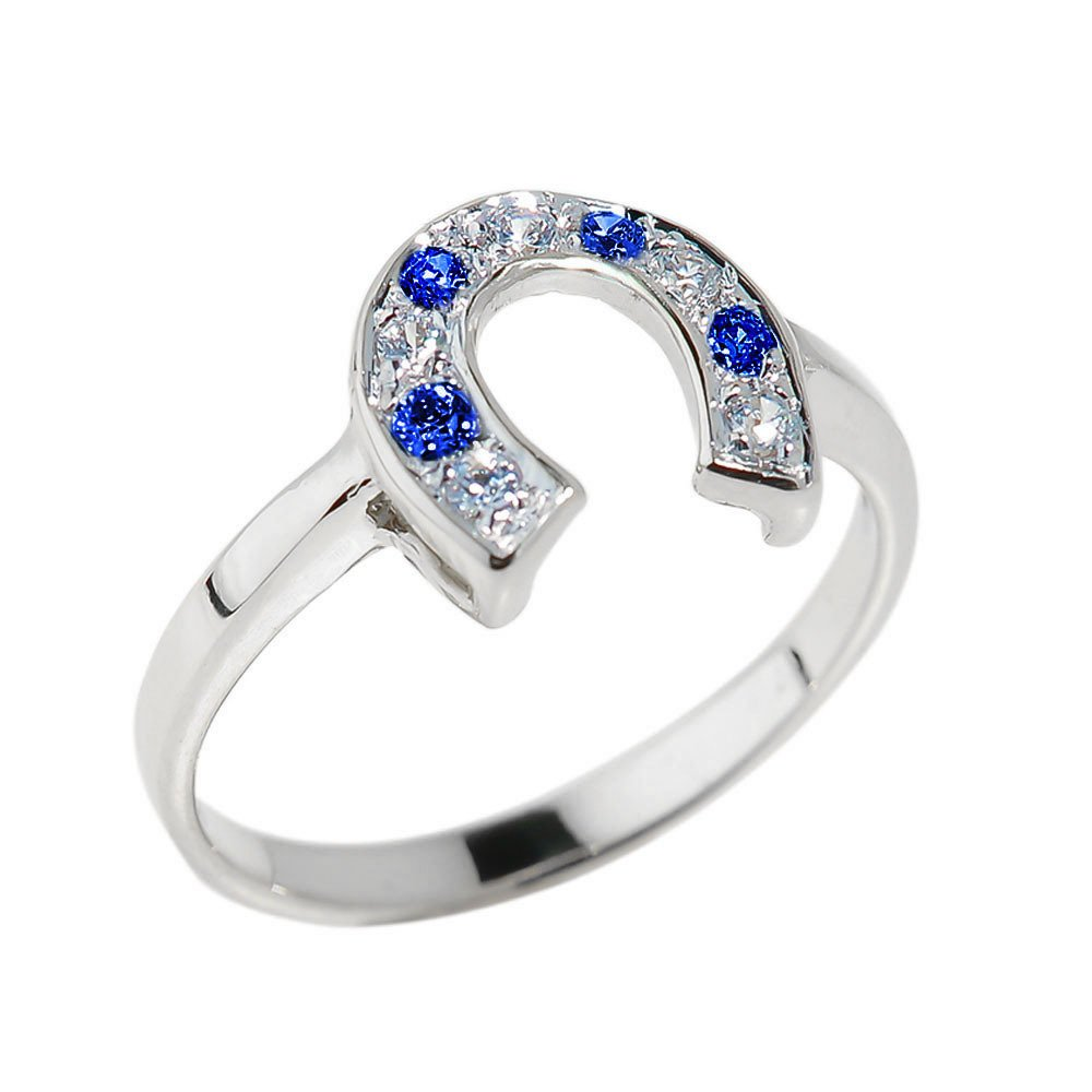 Fine 925 Sterling Silver Blue and White CZ Lucky Horseshoe Ring (Size 9)