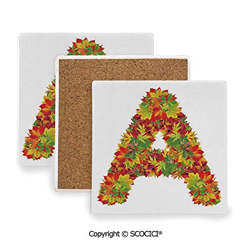 Ceramic coaster With wood Bottom Protection, For Mugs, Wine Glasses, Protects Furniture Square,Letter A,Autumn Themed Leaves Vivid Color Palette Fall,3.9