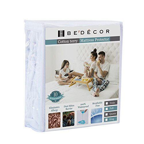 Queen Size Bedecor Mattress Protector - 100% Waterproof, Hypoallergenic - Premium Fitted Cotton Terry Cover - 10 Year Warranty