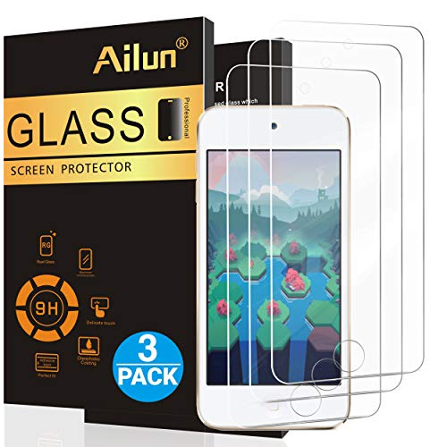 Ailun Screen Protector for iPod Touch 7 Touch 6 Touch 5 Curved Edge Tempered Glass 3Pack Compatible with iPod Touch 7th Generation 2019 Released 6th Generation 2015 Released 5th Generation Case Frien (Direction Ipod Case Touch 1)