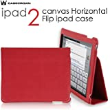 CaseCrown Synthetic Leather Horizontal Flip Stand Case for the Apple iPad 2 Wifi / 3G Model 16GB, 32GB, 64GB-Red