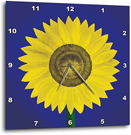 3dRose 3D Rose Giant Sunflower Digital Oil Painting in deep Blue and Yellow. -Wall Clock, 15-inch DPP_123812_3