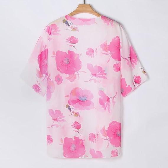 DEELIN Chaqueta De ChifóN Estampado Hembra Chal Flojo Kimono Rebeca Tapa Blusa Blanca: Amazon.es: Ropa y accesorios