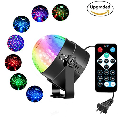 HYONE Party Strobe Light Sound Activated LED Disco Ball, Stage Light with 7 Color Modes, Fun for Dancing, Birthday, Party, Festival Holiday etc (with -