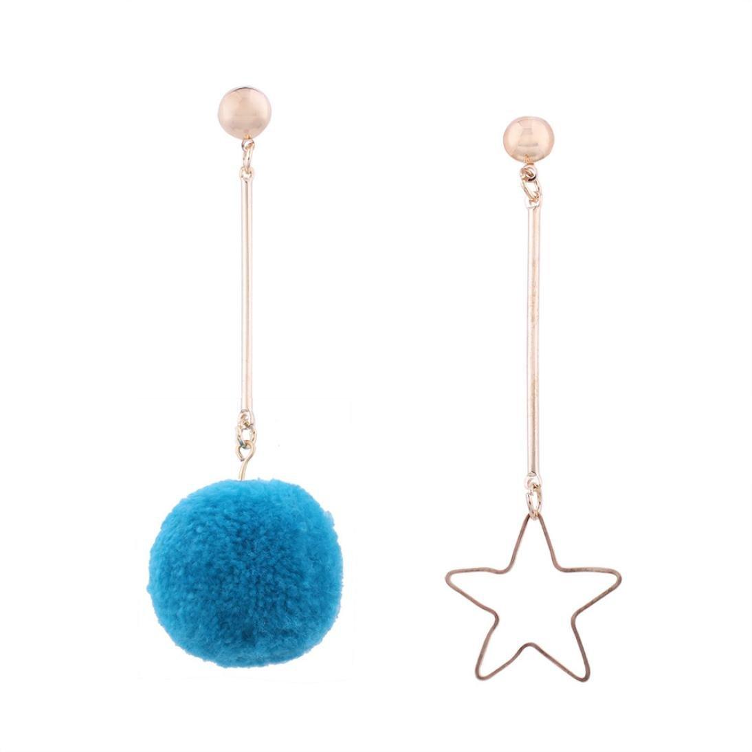 Minshao Fashion Frauen Asymmetrie Fransen Haar Ball Ohrstecker Ohrringe Kette Schmuck