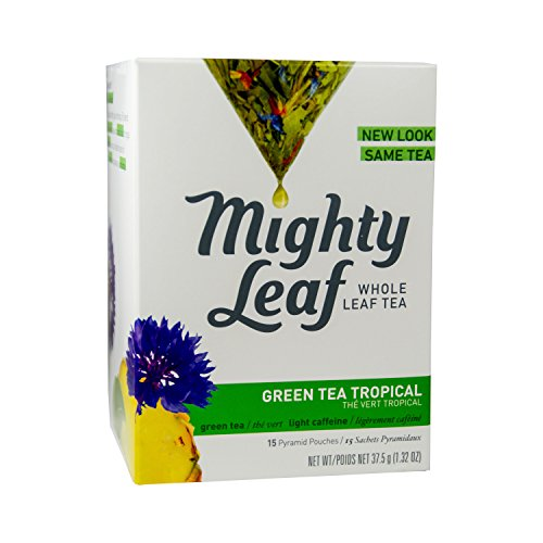 Silken Pyramid Sachets - Mighty Leaf Whole Leaf Tea, Green Tea Tropical, 15 Tea Bags Individual Pyramid-Style Tea Sachets of Lightly Caffeinated Green Tea with Pineapple and Cornflowers, Delicious Hot or Iced