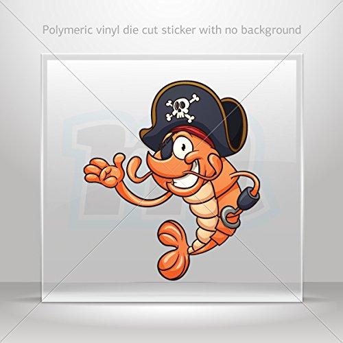 Decal Sticker Shrimp Pirate Decoration Motorbike Bicycle Vehicle ATV car Lapt (6 X 5.29 In)